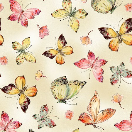 Floral Study by Alice Kennedy - Allover Butterflies - Y2273 - Daz Fabrics