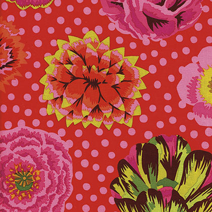 Collective Stash Collection by Kaffe Fassett - Big Blooms Red - Yardage - Daz Fabrics