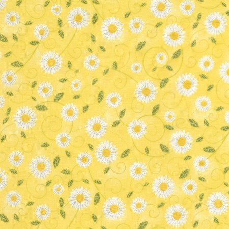 Beeloved/You are my Sunshine Collection by Gail Cadden - Yellow Daisy Vines - Yardage - Daz Fabrics