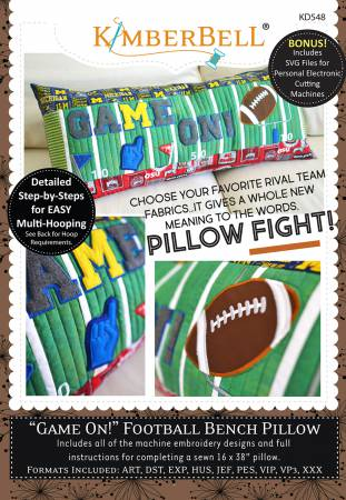 Game On Football Bench Pillow - Embroidery CD T25 - Daz Fabrics