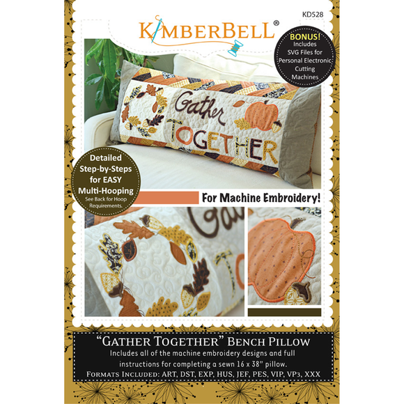 ****Gather Together Bench Pillow - Embroidery CD - Daz Fabrics