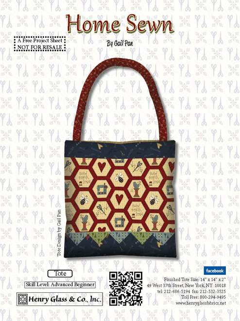 Home Sewn Tote - Click on RED LINK in Product Description, below Paypal button,  to receive pattern - Daz Fabrics