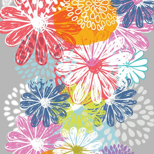Doodle Blossoms In the Beginning - Multi Flower Border Stripe - Yardage - Daz Fabrics