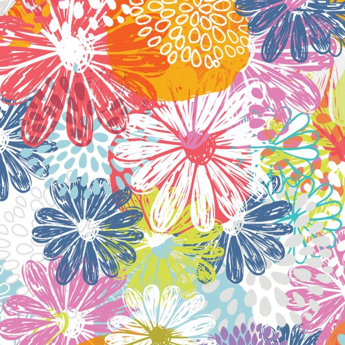 Doodle Blossoms In the Beginning - Flower Garden Multi - Yardage - Daz Fabrics