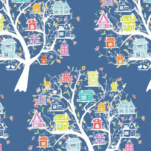 Doodle Blossoms In the Beginning - Tree House Multi - Yardage - Daz Fabrics