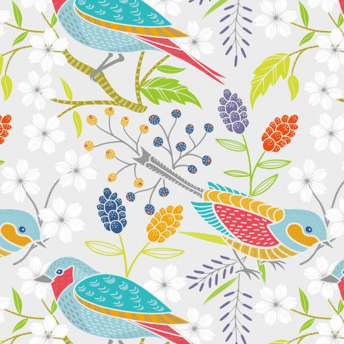 Doodle Blossoms In the Beginning - Birds Multi - Yardage - Daz Fabrics