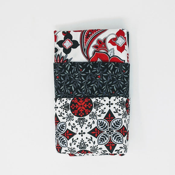 Black, White & Red Hot Collection - 3 Yard Bundle - Daz Fabrics