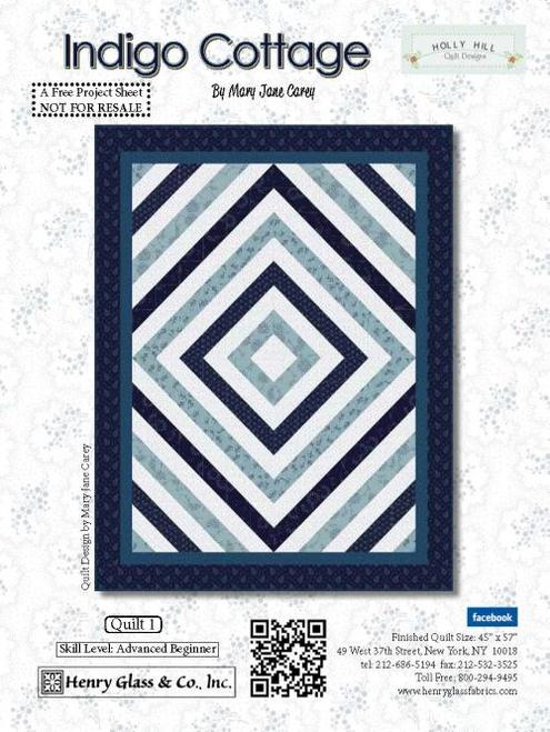 Indigo Cottage Quilt #1 - Click on RED LINK to Download Pattern in Description Below - Daz Fabrics