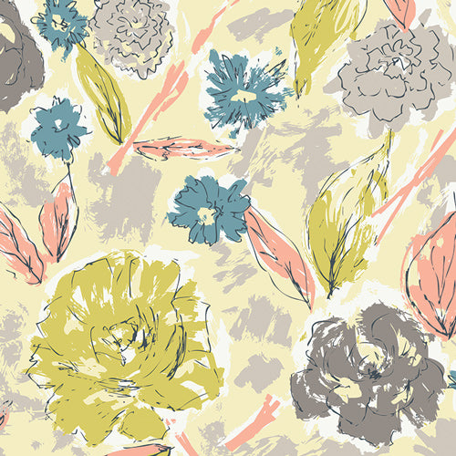 Tapestry Collection by Sharon Holland - Paper Flowers Aurora - Yardage - Daz Fabrics