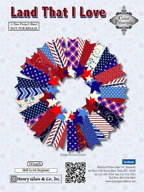 Land That I Love Wreath - Click on RED LINK in Product Description, below Paypal button,  to receive pattern - Daz Fabrics