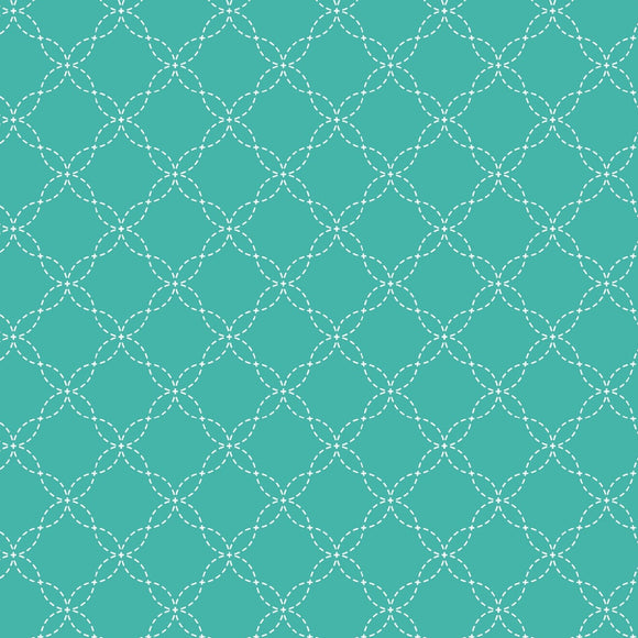 KimberBell Basics - Lattice Teal - Yardage - Daz Fabrics