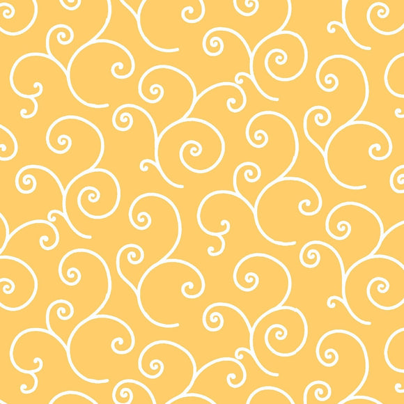 KimberBell Basics - Scroll Yellow - Y847 - Daz Fabrics