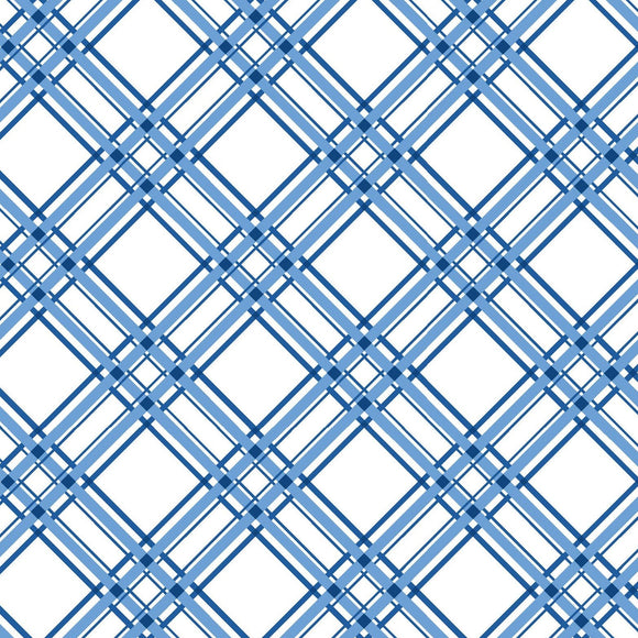 KimberBell Basics - Diagonal Plaid Blue -  Y834 - Daz Fabrics