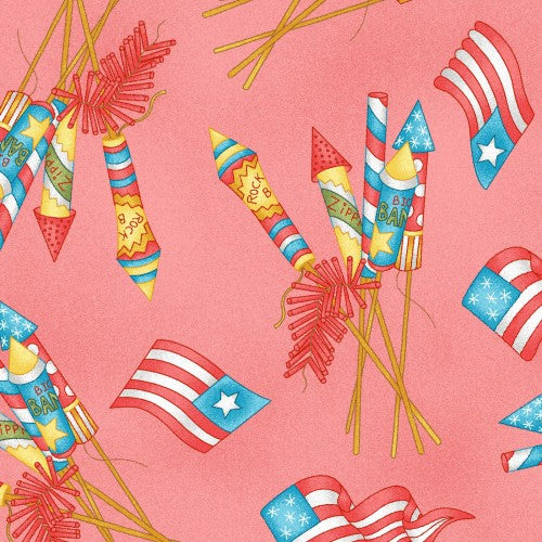 Back Porch Celebration Collection by Meg Hawkey - Vintage Fireworks Geranium - Yardage - Daz Fabrics