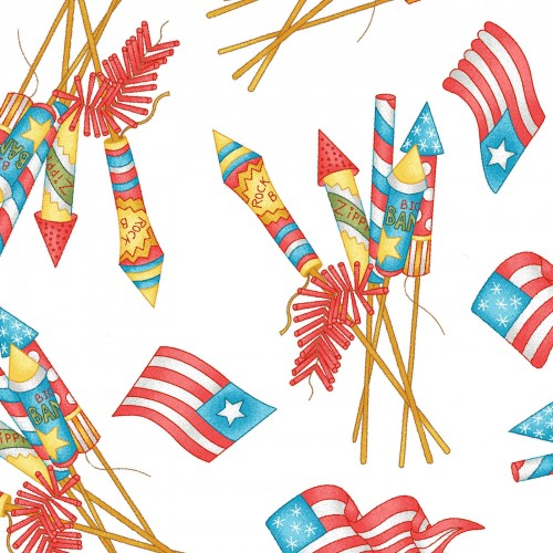 Back Porch Celebration Collection by Meg Hawkey - Vintage Fireworks White - Yardage - Daz Fabrics