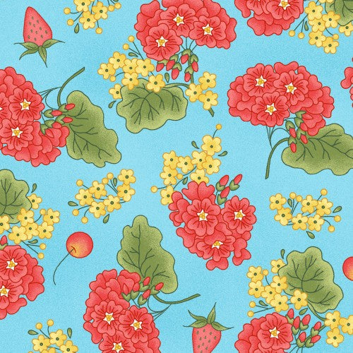 Back Porch Celebration Collection by Meg Hawkey - Grandma's Garden Blue - Yardage - Daz Fabrics