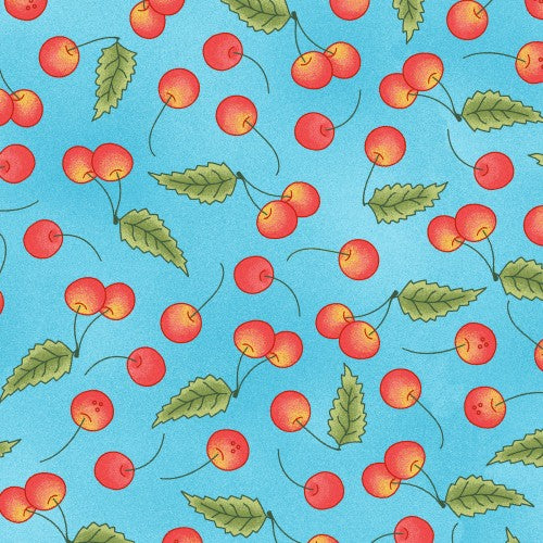 Back Porch Celebration Collection by Meg Hawkey - Cherries Blue - Yardage - Daz Fabrics