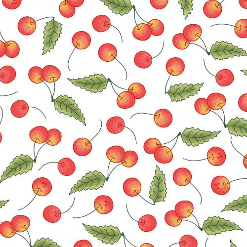Back Porch Celebration Collection by Meg Hawkey - Cherries White - Yardage - Daz Fabrics