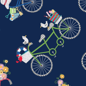Vintage Boardwalk by Kim Christopherson, KimberBell - Bicycles Navy  Blue - Y855 - Daz Fabrics