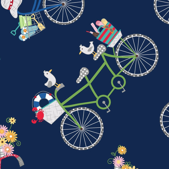 Vintage Boardwalk by Kim Christopherson, KimberBell - Bicycles Navy  Blue - Yardage - Daz Fabrics