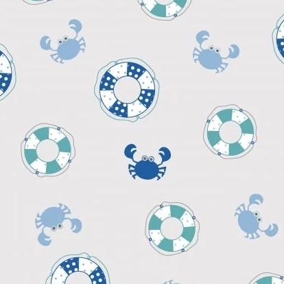 Vintage Boardwalk by Kim Christopherson, KimberBell - Preservers & Crabs Blue - Y864 - Daz Fabrics