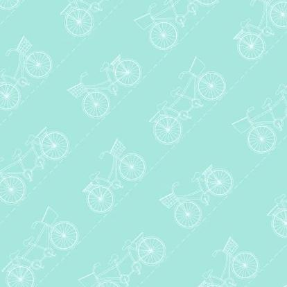 Vintage Boardwalk by Kim Christopherson, KimberBell - Diagonal Bikes Teal - Yardage - Daz Fabrics
