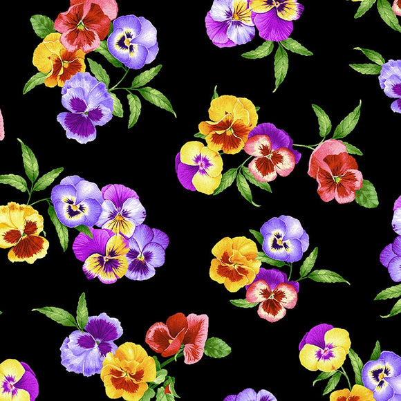 Wild Meadow Collection Chong-a Hwang - Pansy Bunches - Yardage