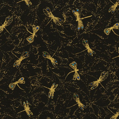 Fly by Night Collection by Chong-a Hwang - Dragonflies Mini Black - Yardage - Daz Fabrics