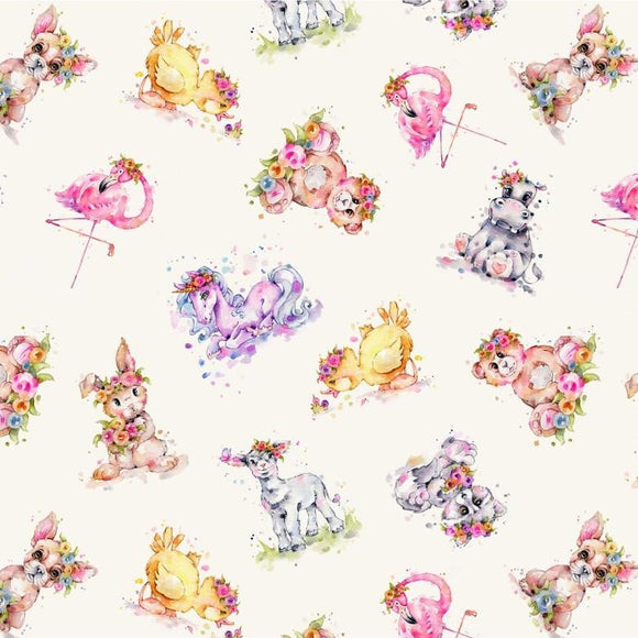 Little Darlings by Sillier Than Sally Designs - Little Darlings Cream - Yardage - Daz Fabrics