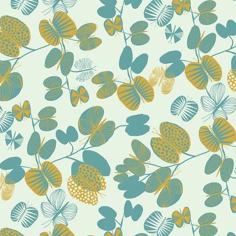 After the Rain by Bookhou for Anna Maria's Conservatory - Butterfly Leaves Cerulean - Y2747 - Daz Fabrics