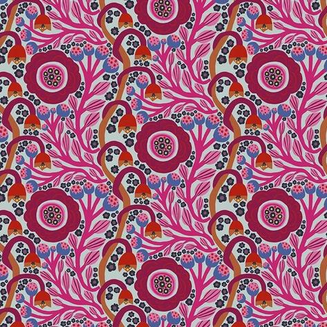 Endless Summer by Monica Forsberg for Anna Maria's Conservatory - Dotty Bloom Cerise - Y2308 - Daz Fabrics