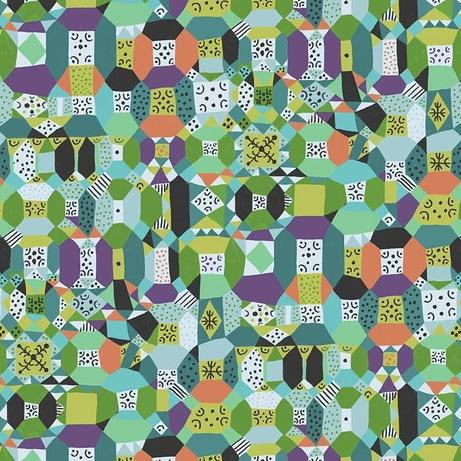 Endless Summer by Monica Forsberg for Anna Maria's Conservatory - Groove Aqua - Yardage - Daz Fabrics