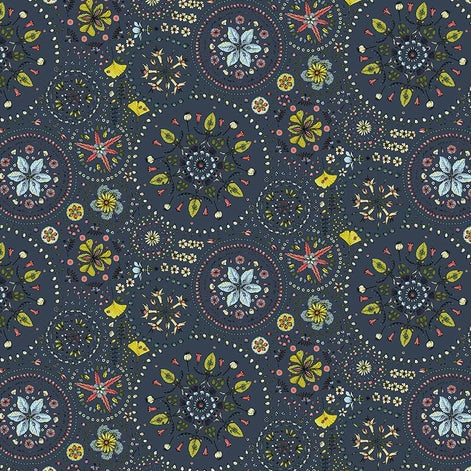 Land Art by Odile Bailloeul - Fairy Circles Navy - Yardage - Daz Fabrics