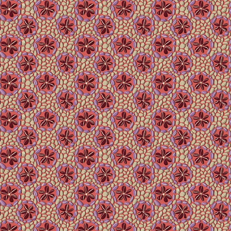 Land Art by Odile Bailloeul - Stone Flowers Rose - Yardage - Daz Fabrics