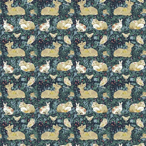 Land Art by Odile Bailloeul - Mini Enchanted Forest Navy - Yardage - Daz Fabrics