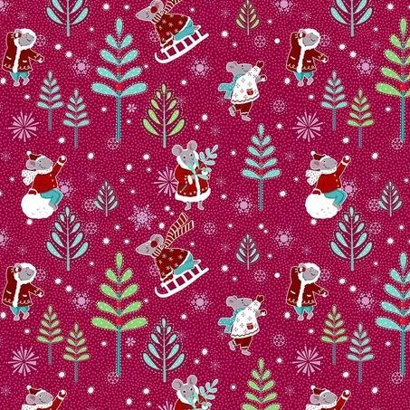 Winter Games by Odile Bailloeul - Winter Games  Raspberry - Y501 - Daz Fabrics