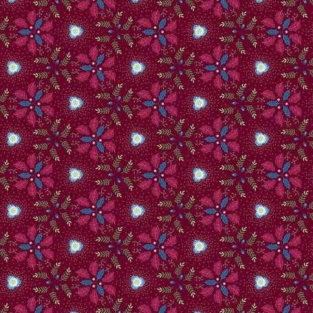 Winter Games by Odile Bailloeul - Christmas Rose Burgundy - Y493 - Daz Fabrics