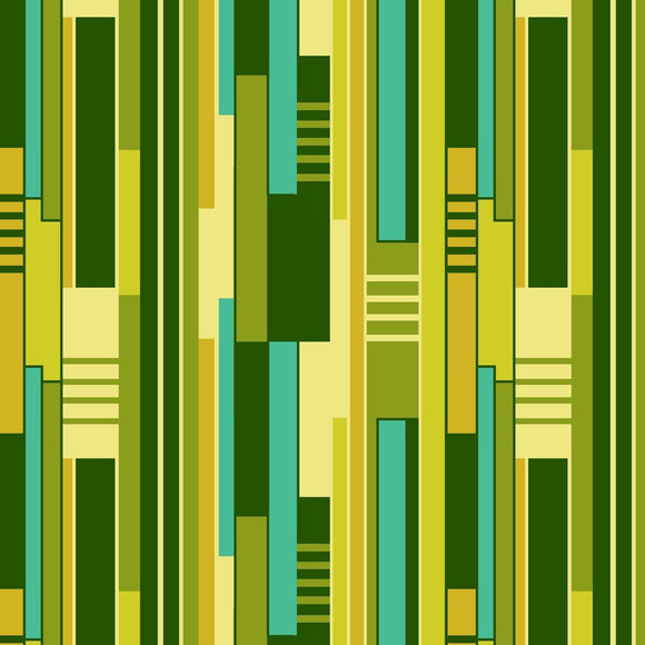 All Lined Up by Judy Gauthier - Irregular Blocks Stripe Green/Yellow - Y401 - Daz Fabrics