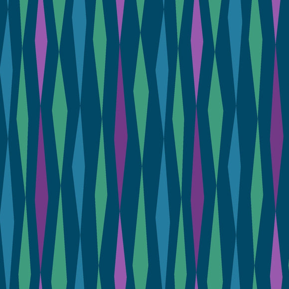 All Lined Up by Judy Gauthier - Diamond Stripe Teal - Y405 - Daz Fabrics
