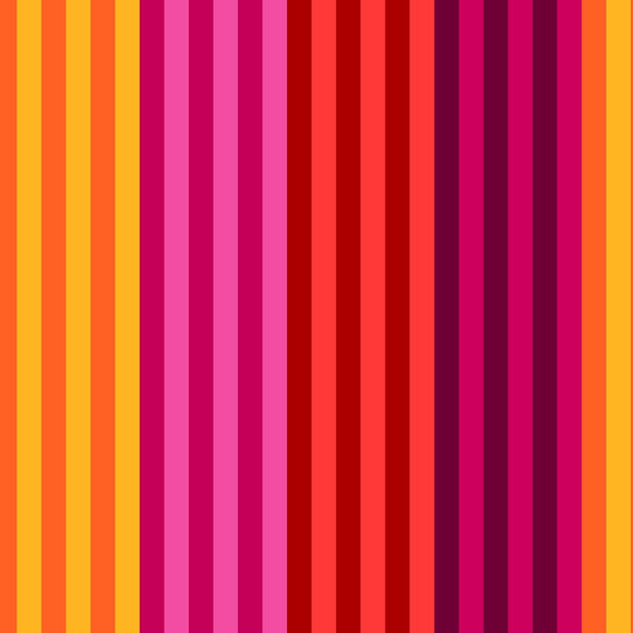 All Lined Up by Judy Gauthier - Narrow Stripe Red/Yellow - Y409 - Daz Fabrics