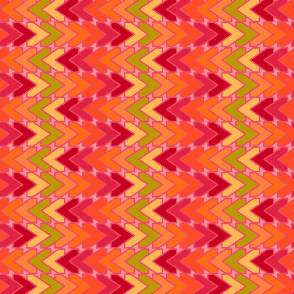 All Lined Up by Judy Gauthier - Chevron Red/Orange - Y411 - Daz Fabrics