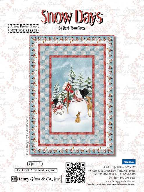 Snow Days Pattern by Barb Tourtillotte - Click on RED LINK in Product Description, below Paypal button,  to receive pattern - Daz Fabrics