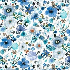 Blue Crush Collection by August Wren - Cool Garden - Yardage - Daz Fabrics