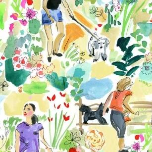 Midsummer Dream by August Wren -  Dog Walkers Multi - Yardage - Daz Fabrics