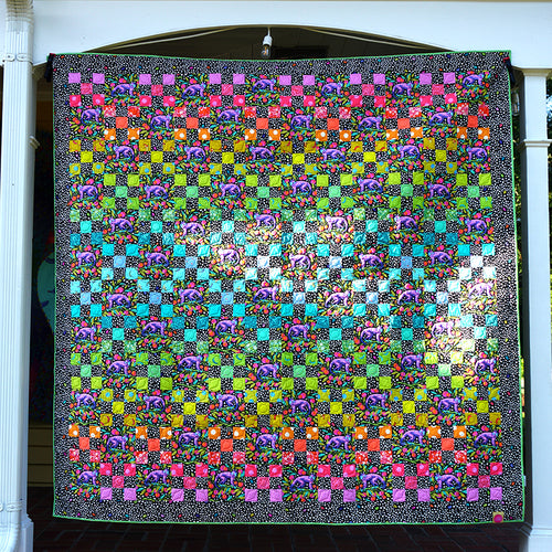 Daisy Chain Dark Quilt featuring Monkey Wrench by Tula Pink - Click on RED LINK in Product Description, below Paypal button,  to receive pattern - Daz Fabrics