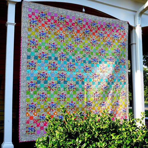 Daisy Chain Light Quilt featuring Monkey Wrench by Tula Pink - Click Link (IN RED) Below to Receive Free Pattern - Daz Fabrics