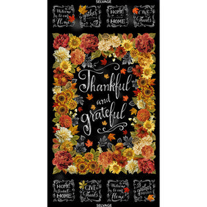 "Thankful Collection by Timeless Treasures - Thankful and Grateful  -  24"" Panel L37KFT - Daz Fabrics"