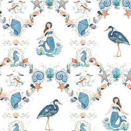 By The Seahore Seashells by Ellen Crimi-Trent - Damask White - Yardage - Daz Fabrics