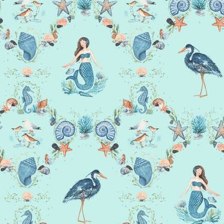 By The Seahore Seashells by Ellen Crimi-Trent - Damask Light Aqua - Yardage - Daz Fabrics