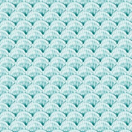 By The Seahore Seashells by Ellen Crimi-Trent - Clams Aqua - Yardage - Daz Fabrics
